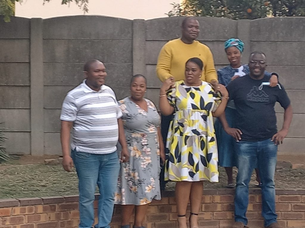 Joyous: From left ,Mr Mankwe Raphela and his wife Refiloe; (middle), Sgt Ramara and his wife Lerato; and Mr Zacharia Raphela and his wife